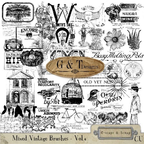 Mixed Vintage Brush Bundle 3-6 - Click Image to Close