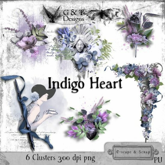 G & T DESIGNS INDIGO HEART MEGA KIT - Click Image to Close