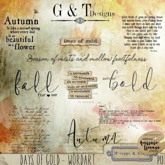 G & T DESIGNS DAYS OF GOLD KIT - Click Image to Close